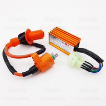 Performance 6 Pin Racing AC CDI Box + Ignition Coil for GY6 50cc 70cc 90cc 110cc 125cc 150cc Moped Scooter ATV Quad Go Kart