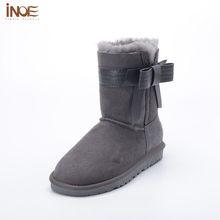 INOE Double Face Sheepskin Boots Genuine Leather Boots with Fur Women Flat Winter Gray Boots Shoes Ladies Wool Shoes Bow Size 9(China)