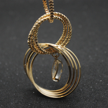 New Arrival Fashion Design Trendy Style Long Paragraph Sweater Chain All-match woman Crystal  Multi circle Set grace