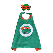 2pcs/set Orange Ninja Turtles Mask Double layer Cloak Cape Teenage Kid Happy Birthday Children's Day Gift Cosplay Party Supplies