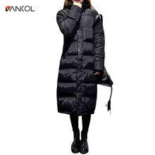 Vancol Plus Size X Long Thick Female White Goose Down Jacket Hooded Winter Parkas mujer invierno 2016 Black Warm Coat Women
