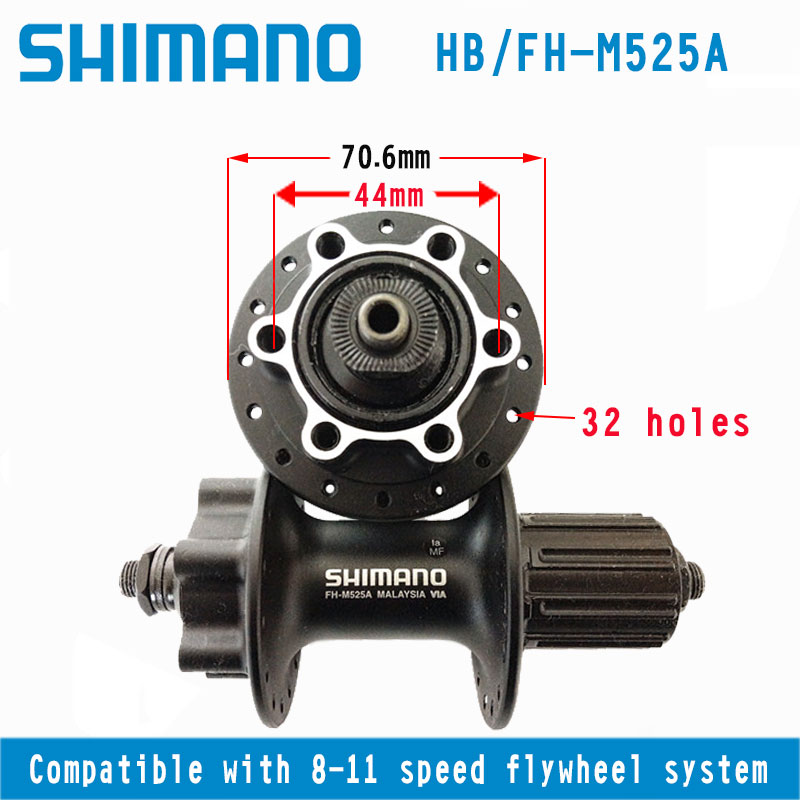 Shimano Deore FH-M525 8//9//10-Speed Rear Hub Freehub w// QR Disc Brake Black 36H