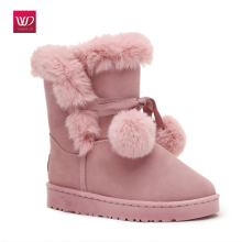 Vivident 2017 Keep Warm Cotton Women Cute Snow Boots Suede Winter Boots Snow Fur Fashion Ankle Female Flats Casual Slip On Pink(China)