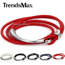 Trendsmax 6mm Leather Bracelet Silver Tone Star Charm Multi Btrand White Black Red Handmade Leather Bracelet Wristband LBM39