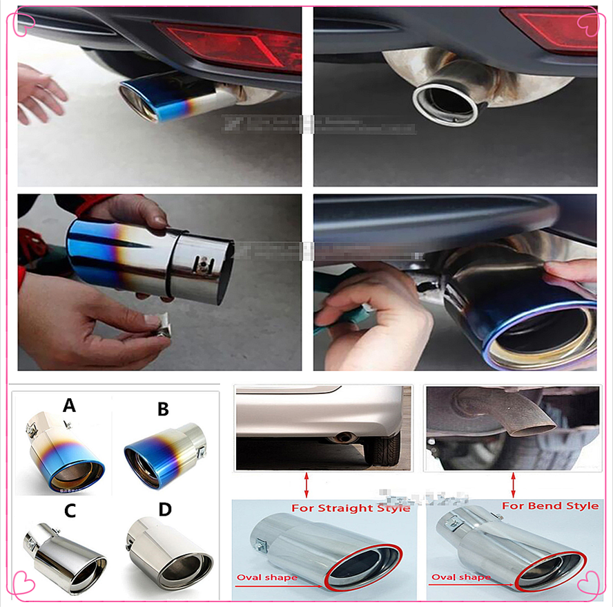 2PCS Stainless Steel Car Oval Tip Tail Exhaust Pipe for Range Rover Exhaust Pipe for Range Rover Car Oval Trim Tail Piece End Pipe Exit Weld Sliver