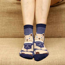 cotton cat socks for girl funny socks animals style cute cat footprints cartoon 3D short socks knitting tube sokken lovely sox