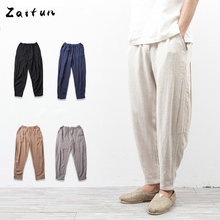 ZAITUN Summer Loose Linen Pants Men Elastic Waist Straight Casual Pants Breathable Linen Bottoms Trousers Pencil Linen Pants