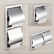 Wholesale Retail Free Shipping Modern Polished Chrome Stainless Steel Bathroom Toilet Paper Holder Tissue Box Sanitary products(China)