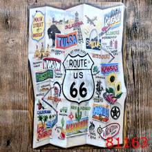 Foldable Looking Route 66 Printing Metal Tin Sign Iron Antique Tin Painting House DECOR Coffee Shop Sticker 20X30CM(China)