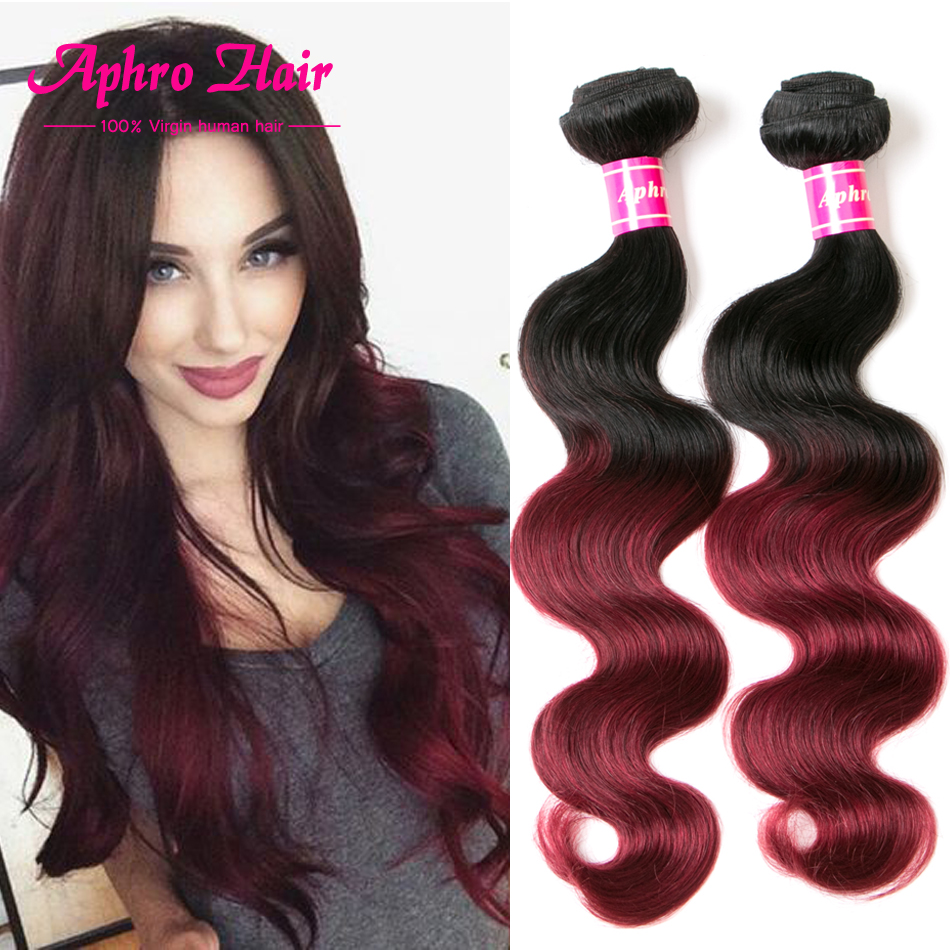 Brazilian Body Wave T1B/Burgundy  Brazilian Virgin Hair Body Wave 4 Bundles 8A Brazilian Virgin Hair Ombre Human Hair Bundles<br><br>Aliexpress