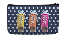 Navy blue dot retro colorful shoes Print Custom Small Cosmetic Bag Wristlet hand bag