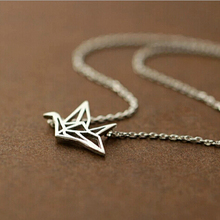 2015 Newest women 925 sterling silver necklace with Paper crane pendants ladies 925 silver chain necklace jewelry