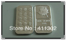 Hot sale .999 pure solid silver 1gram canada maple leaf bullion bar, fine silver .999 bullion 10pcs/lot,Free shipping(China)