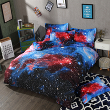 Galaxy moon star bedding set Red cloud duvet covers Children bedroom decor single twin queen king size bed sheets 3/4pcs