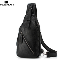 FUSHAN Men Messenger Bags Leather Chest Pack Casual Men's Travel Shoulder Bag Bag Crossbody Sacoche Homme(China)
