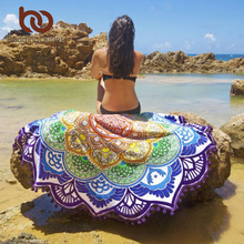 BeddingOutlet Tassel Indian Toalla Mandala Tapestry Beach Towel Sunblock Round Bikini Cover-Up Blanket Lotus Bohemian Yoga Mat(China)