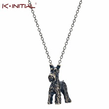 Kinitia 10pcs 3D Schnauzer Bobtail Necklace Animal Dog Breed Chain Necklace for Women Pendant Neckalces Colar Statement Bijoux