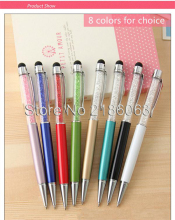 wholesale 200pcs Colorful 2 in 1 Swarovski Crystal Capacitive Touch Stylus Ball Pen for ipad iPhone 5S 4S 5C HTC Samsung i9500