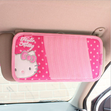 Cartoon Hello kitty synthetic fibre girl pink car CD grips covers auto Interior Accessories