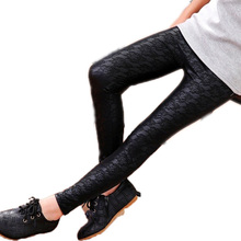3-12 Y kids skinny Lace PU Leather pants toddler girls leggings baby pants Children's Autumn/Winter clothes Flower leggings(China)