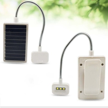 Portable USB / Solar Charging LED Solar Light Mini Flexible Goose Neck Clip On Book Reading Light(China)