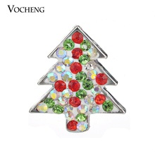 Vocheng Ginger Snap Button 18mm Christmas Tree Charms Interchangeable Crystal Accessories Vn-726 Free Shipping