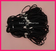 50PCS 2mm Black Elastic Hair Bands as Connecter of Headbands with Silver metal button,BARGAIN for BULK