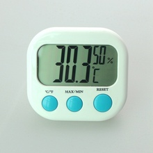 Mini Digital Thermometer Hygrometer Temperature Humidity Clock Meter Tester LCD Display Indoor White 0~50 Celsius Free Shipping(China)