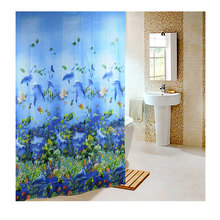2017 Hot Bathing Curtain Sea Life Waterproof Fabric Bathroom Shower Curtain Light Blue 1.8 x1.8m  With 12pcs Curtain Hooks Rings