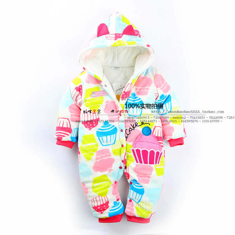 2017 baby girl jumpsuit  Newborn Baby Coral Fleece Winter Boy Rompers Cartoon Infant Clothes Free shipping<br>