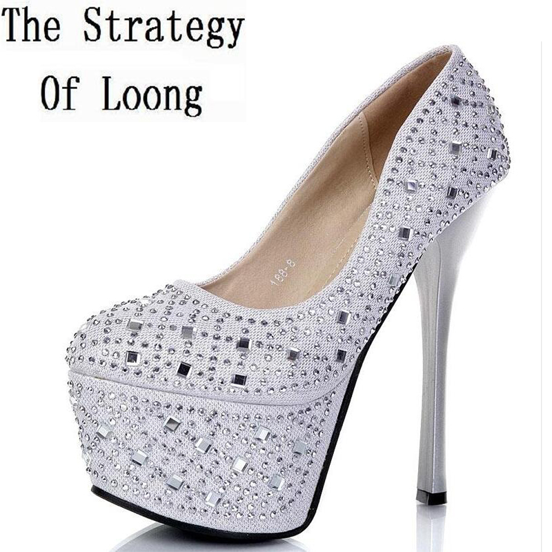 15 CM High Heels Women Waterproof Taiwan Rhinestones Pumps Hot Sale New Arrival Fashion Sexy Thin Heels Lady Crystal Shoes<br>
