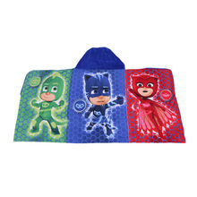 New pjmasks Children Hooded Cloak Bath Towel Beach Swimming Bathrobe Kids Boys Girls