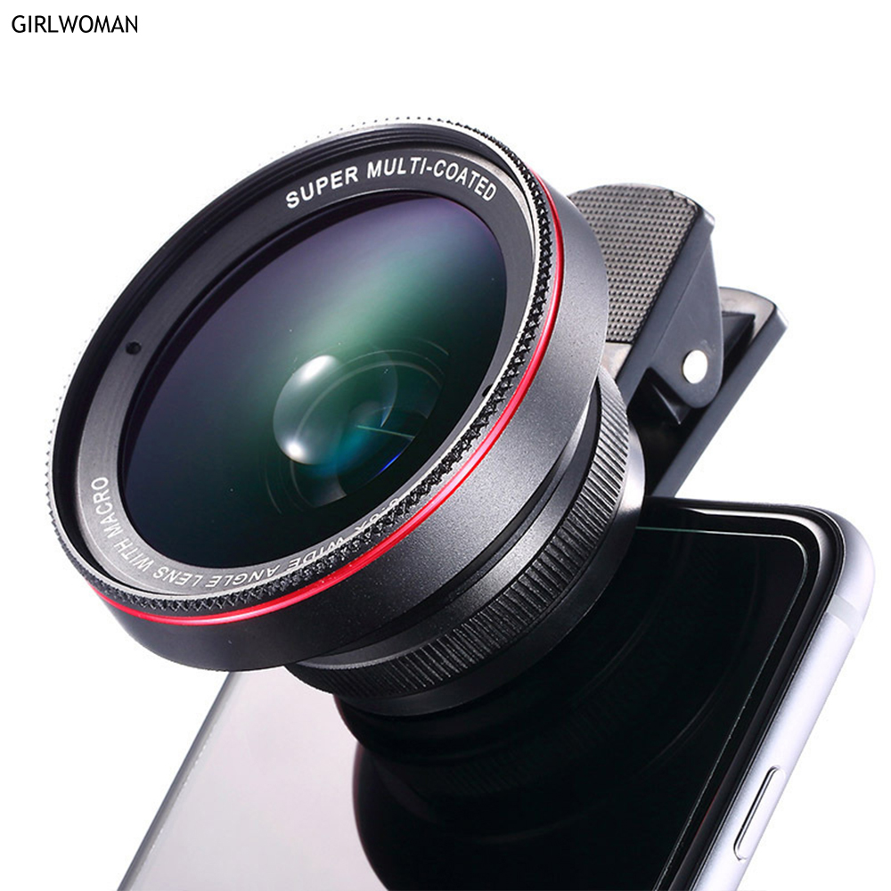 Girlwoman 2 1 HD Camera Lens Kit 0.6X Wide Angle 12.5X Macro Lens Mobile Phone Lens iPhone X 8 6s plus 7 Samsung S9 PLUS