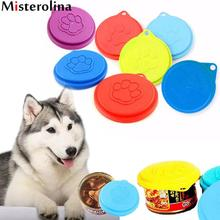 Portable Pet Dog Cat Food Storage Can Tin Cover Lid Top Cap Random Color Reusable ZDD3333(China)