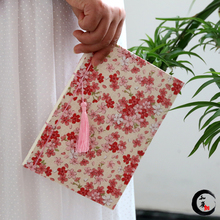 Vintage Chinese Style Red Flowers Classical Original Handmade Cloth Notebook Handmade Tassel Antiquity Wire-bound Books PL(China)