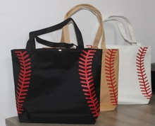 Baseball Softball Tote Bag 4 colors for jewelry  Softball baseball white stitching bags baseball women Cotton Canvas bag