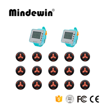 Mindewin New Beeper Call Service 15pcs Call Button + 2pcs Watch Receiver Pager Restaurant Server Paging System