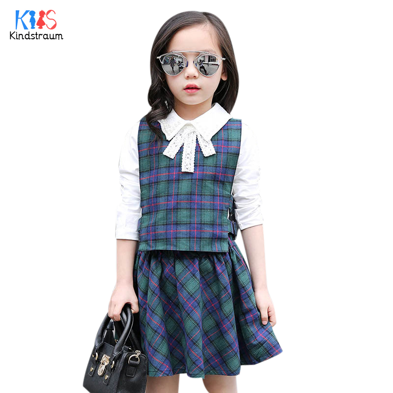 Kindstraum 2017 Autumn Children Plaid Clothing Sets Girls Vest + Shirts + Skirts Cotton Wear British Style Suits for Kids,RC785<br><br>Aliexpress