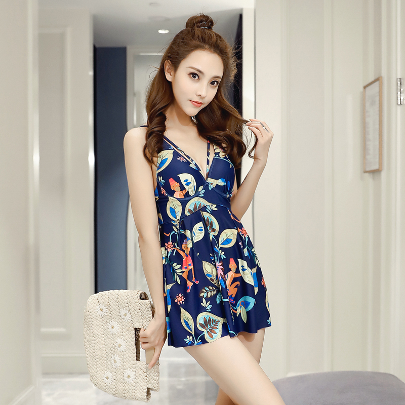 NIUMO NEW Swimsuit Woman Sexy One-piece Swimsuit Skirt Style Small Chest Gather Together High Waist Spa Swimwear<br>