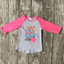 baby girls three quarter icing boutique little miss home school cutie top shirts pencil apple grey clothes back to school cotton