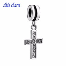 slide charm Free shipping  Europe and the new listing inlaid white crystal cross pendant religious amulet  fit Pandora bracelet