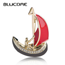 Blucome New Style Red Enamel Brooches Men Boat Sail Shape Brooch For Clothes Accessories Gold-color Corsage Pins Sweater Clips(China)