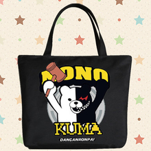 Danganronpa cos cartoo monokuma  printing man woman Handbags black white canvas bags High capacity Shopping Bag