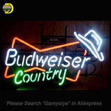 Neon Sign Budweiser Country Music Hat Handmade Neon Bulb Sign Custom LOGO Pub Light Glass Tube Neon Light up signs personalized(China)