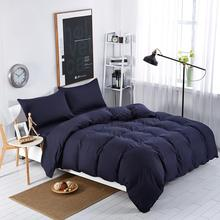 Home textiles,Navy blue solid color bedding sets bedspread King queen full size of comforter cover bed sheet pillowcase