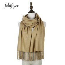 Jzhifiyer solid plain pashmina tassel woven winter cashmere scarf black beige luxury brand jacquard woven pashminas para mujer(China)