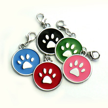 Wholesale 20pcs Dog Cat Tag Pet Dog Collar Accessories Personalized Paw Shape ID Tags Name No. Telephone Tags For Dog Supplies(China)
