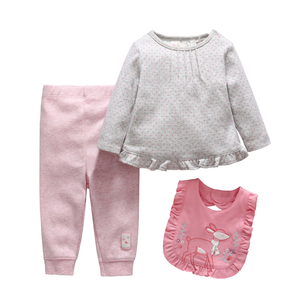 Baby Girl Clothes Dot Cotton Clothing With Pants Bib 3Pcs Set Baby Clothing Set Newborn Girls Clothes 0-12 Months Sets<br><br>Aliexpress