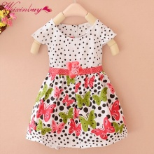Summer Baby Girls Kids Short Sleeve Dress Polka Dots Butterfly Princess Dresses(China)