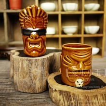 Popular Collection Bar Furnishing Articles Mini Maori Toterm Tiki Cup Hawaii Home Decoration Ceramic Cocktail Cup Holiday Gift